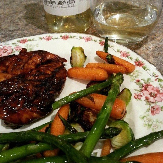 Teriyaki Chicken with veggies. To serve with our Riesling!